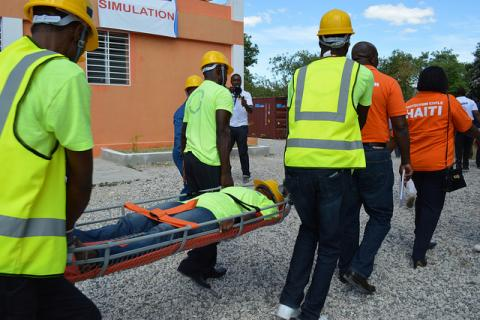 A rescue exercise carried out by civil protection and Red Cross volunteers in Tabarre.
